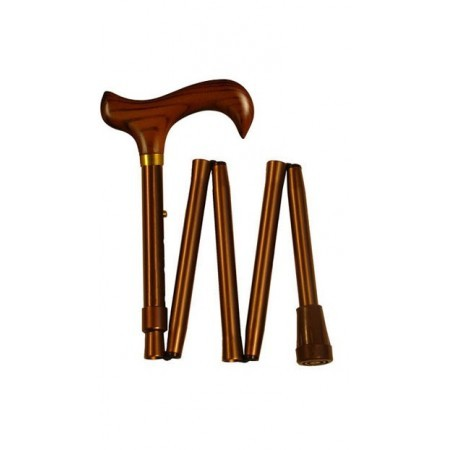 Folding walking stick with wooden handle